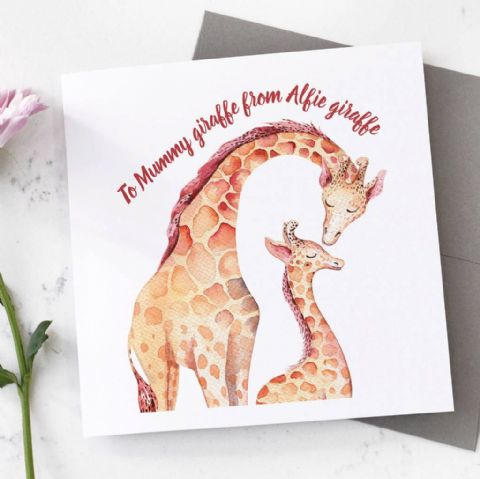 Personalised Giraffe Mother's Day Card